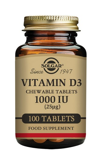 Solgar Vitamin D3 1000 IU 100 Chewable Tablets