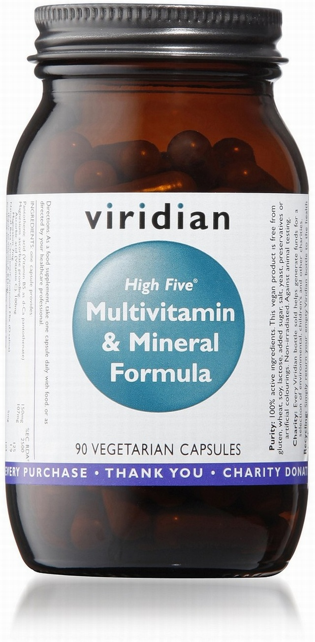 Viridian HIGH FIVE Multivitamin and Mineral Formula 90 Vegetable Capsules