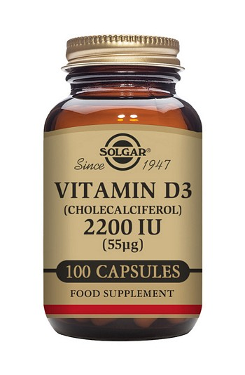 Solgar Vitamin D3 2200 IU 100 Vegetable Capsules