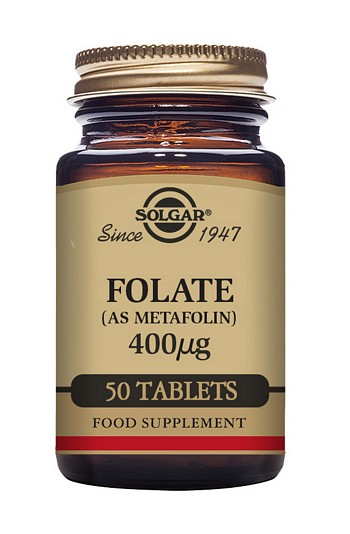 Solgar Folate Folic Acid 400mcg (as Metafolin) 50 Tablets