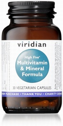 Viridian HIGH FIVE Multivitamin and Mineral Formula 30 Vegetable Capsules