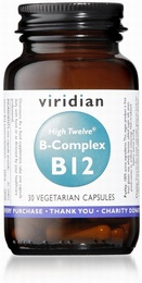 Viridian HIGH TWELVE Vitamin B12 with B-Complex 30 Vegetable Capsules