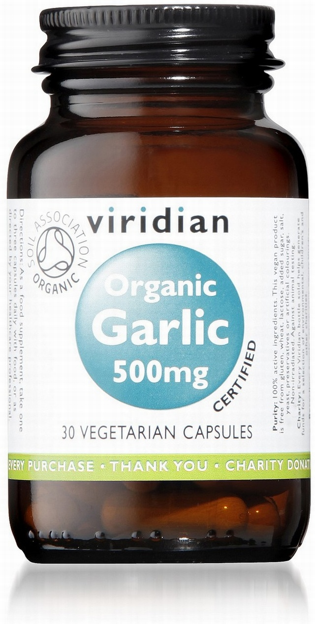 Viridian Garlic 500mg Organic 30 Vegetable Capsules