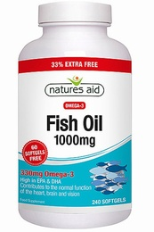 Natures Aid Fish Oil Omega-3 1000mg 240 Capsules - SPECIAL OFFER!
