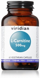 Viridian L-Carnitine 500mg 60 Vegetable Capsules