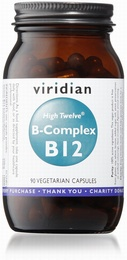 Viridian HIGH TWELVE Vitamin B12 with B-Complex 90 Vegetable Capsules