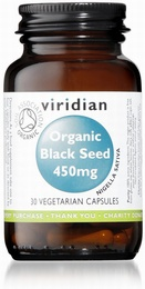 Viridian Organic Black Seed 450mg 30 Vegetable Capsules