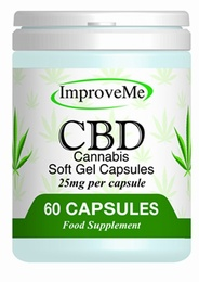 Improve Me Organic CBD Cannabis Oil 25mg 60 Soft Gel Capsules